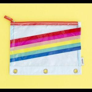 Yoobi Rainbow Stripe Binder Zip Case